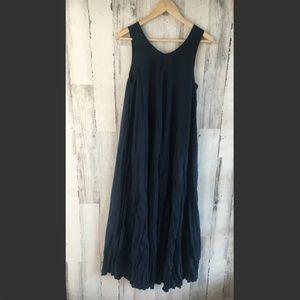 Soft Surroundings Crinkle Maxi Dress Navy